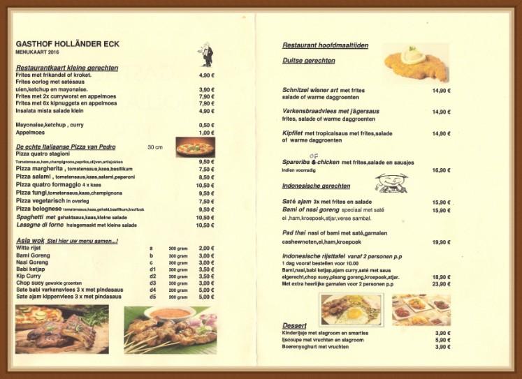 Restaurant Amp Menukaart Sauerland Holl 228 Nder Eck
